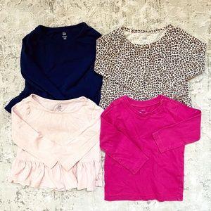 Bundle of 4 Girls' 12-18M long sleeve shirts